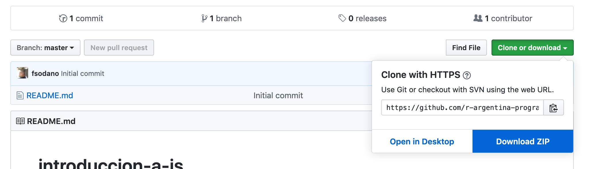Imagen de cómo bajarse un repositorio de GitHub en formato .ZIP