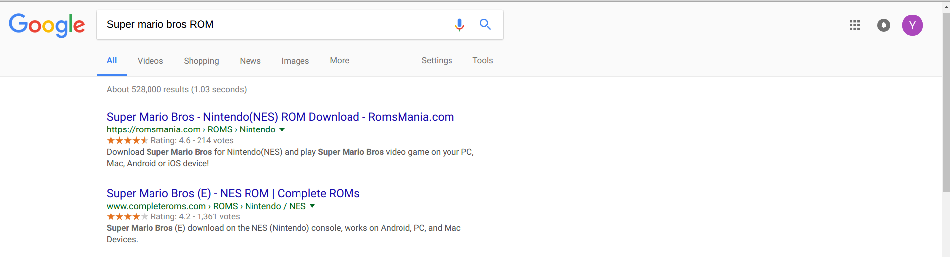 A google Search for ROMs