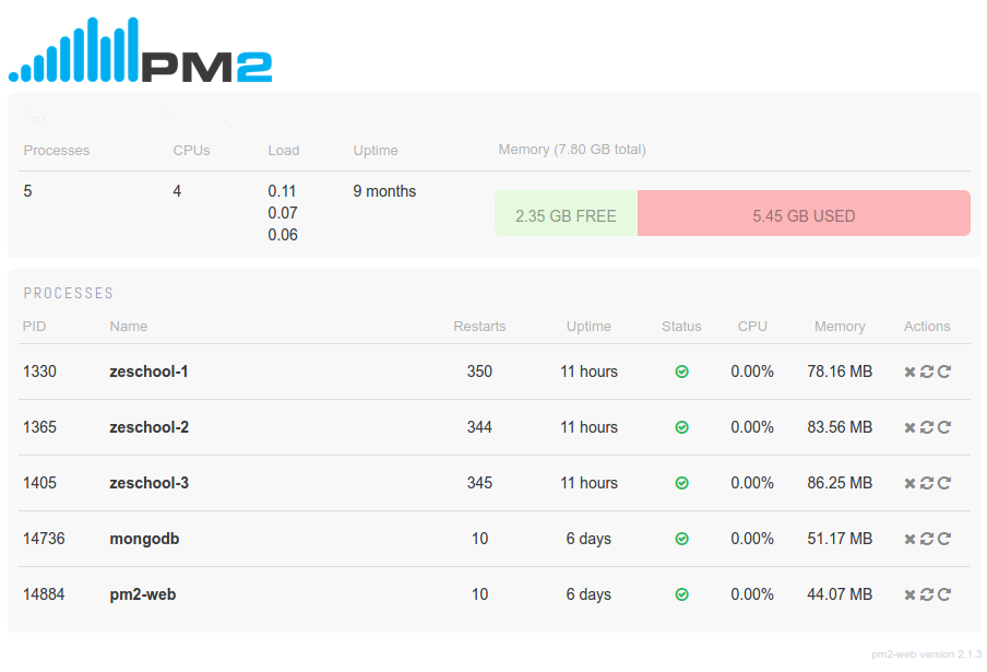 PM2 Web client