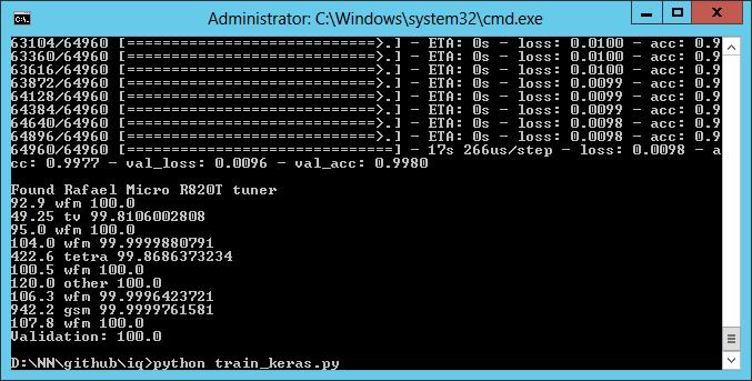 Keras network screenshot