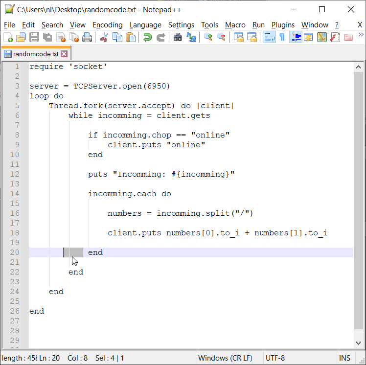 Lines with whitespace in Notepad++