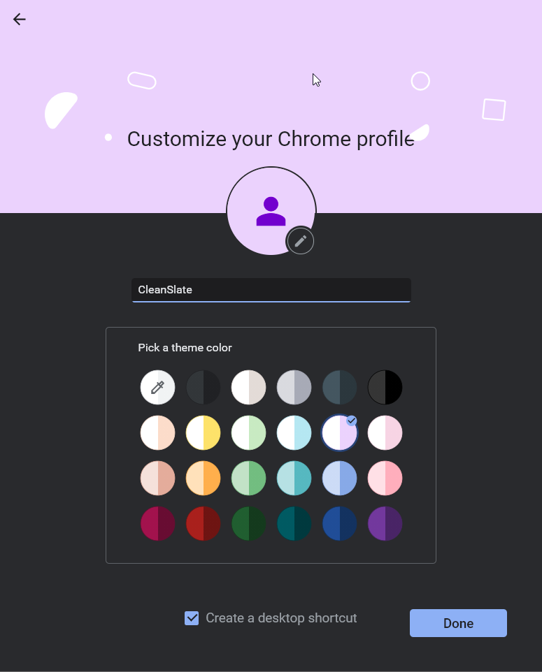 Customize New profile