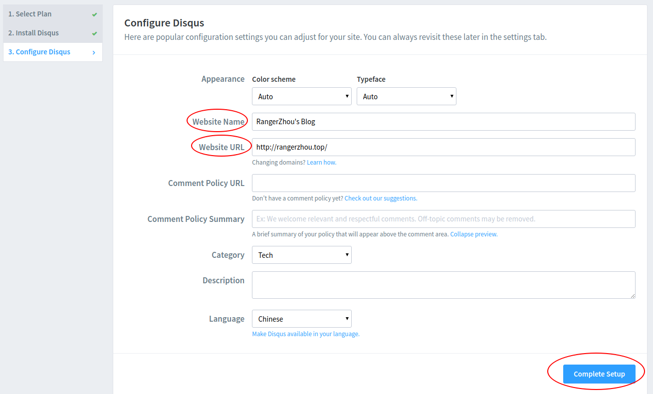 Configure Disqus