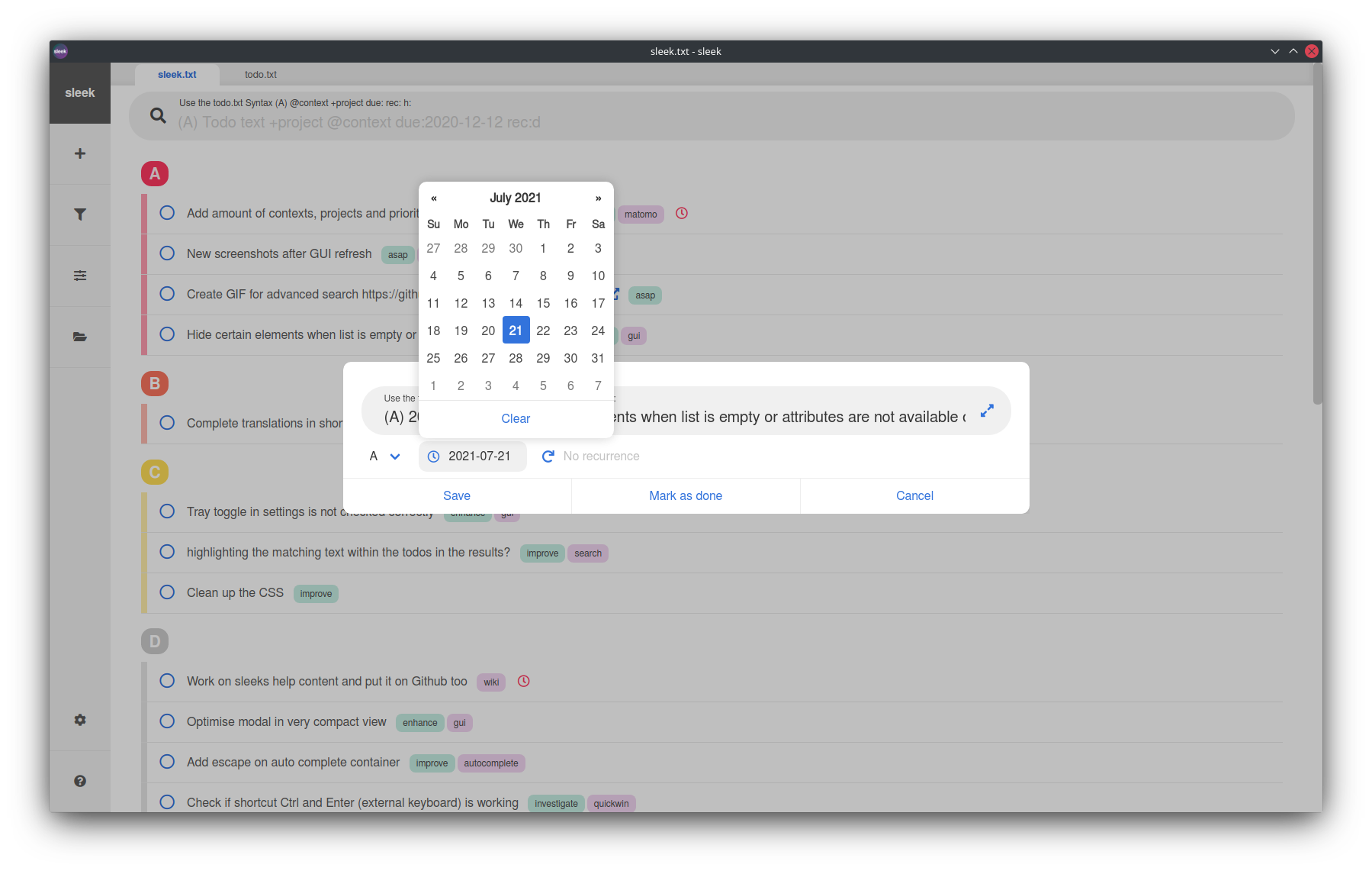 Adding a new todo and date picker shown