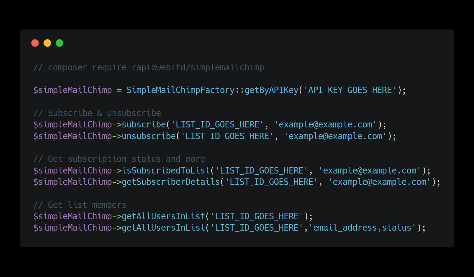 Simple MailChimp usage