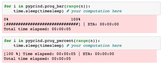 Screenshot of PyPrind executed in an IPython notebook