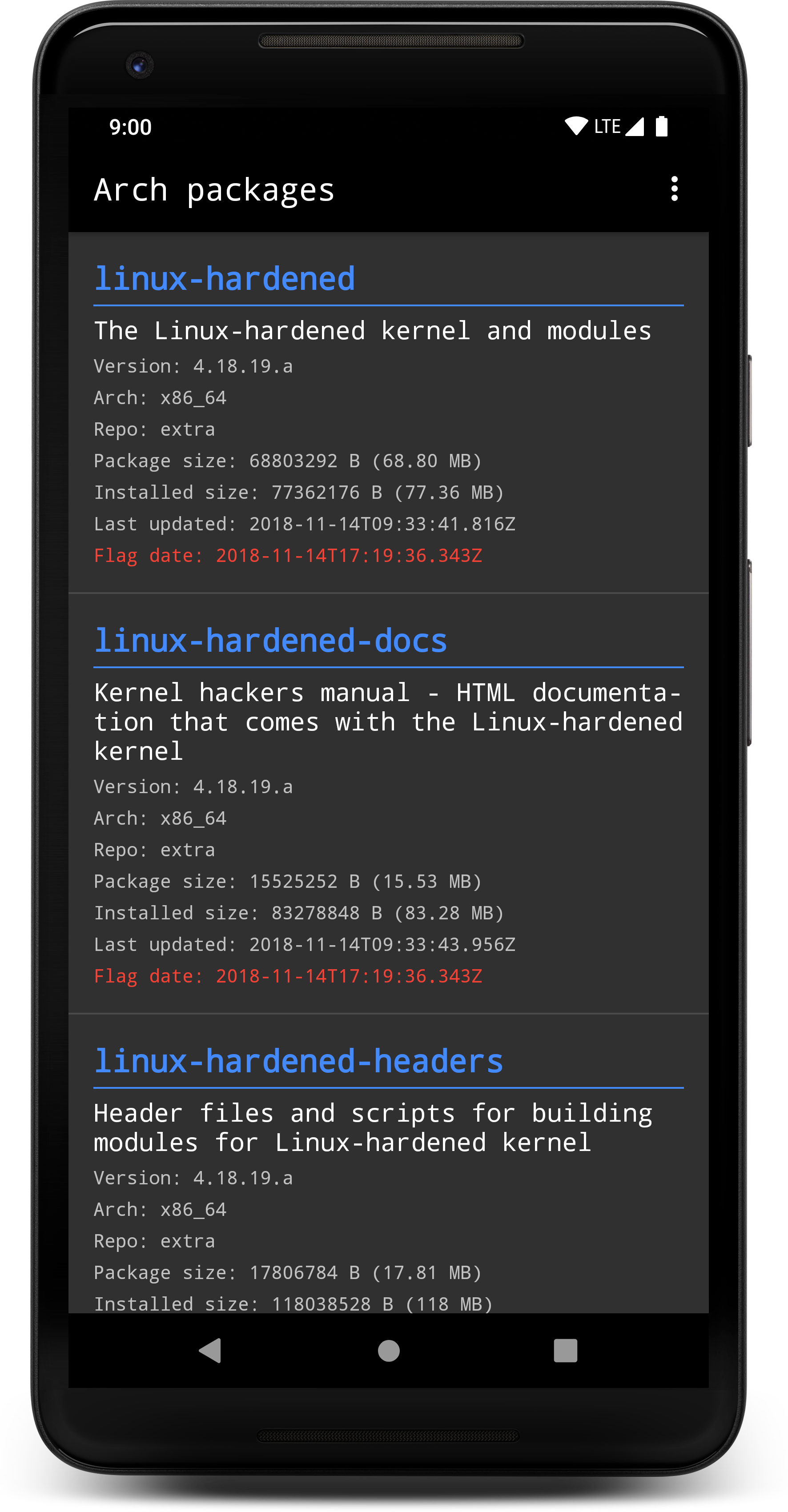 Arch packages, an Android app : archlinux