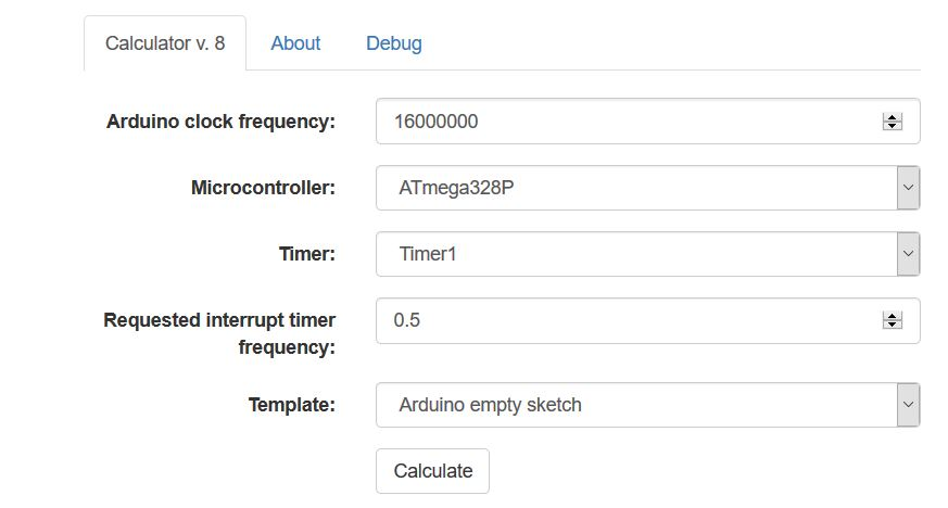 Entering Arduino Timer Specifications