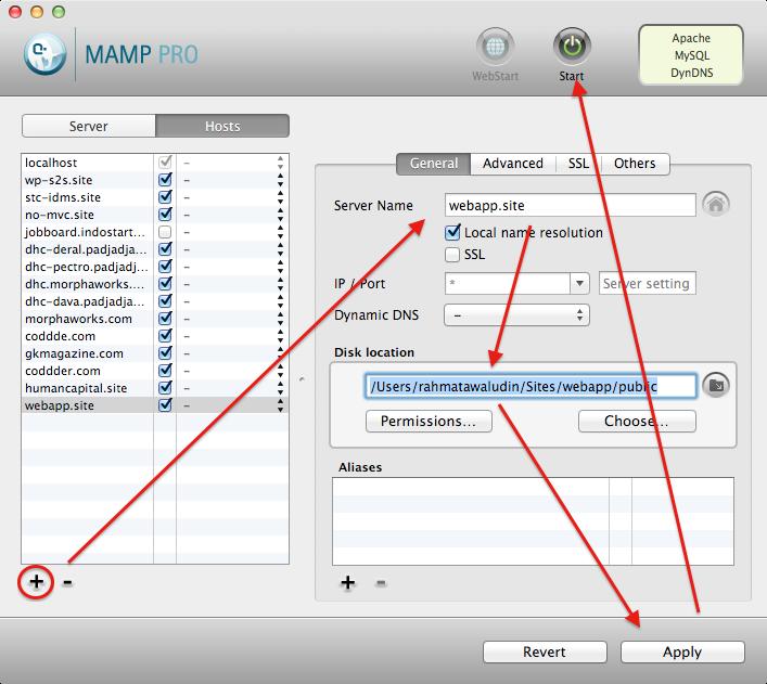 Setup VirtualHost di MAMP PRO