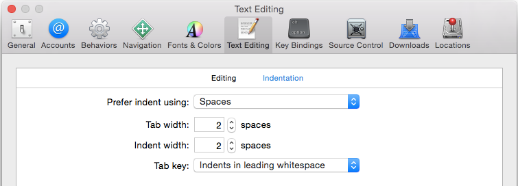 Xcode indent settings