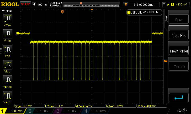A screenshot of an oscilloscope used to measure current consumption