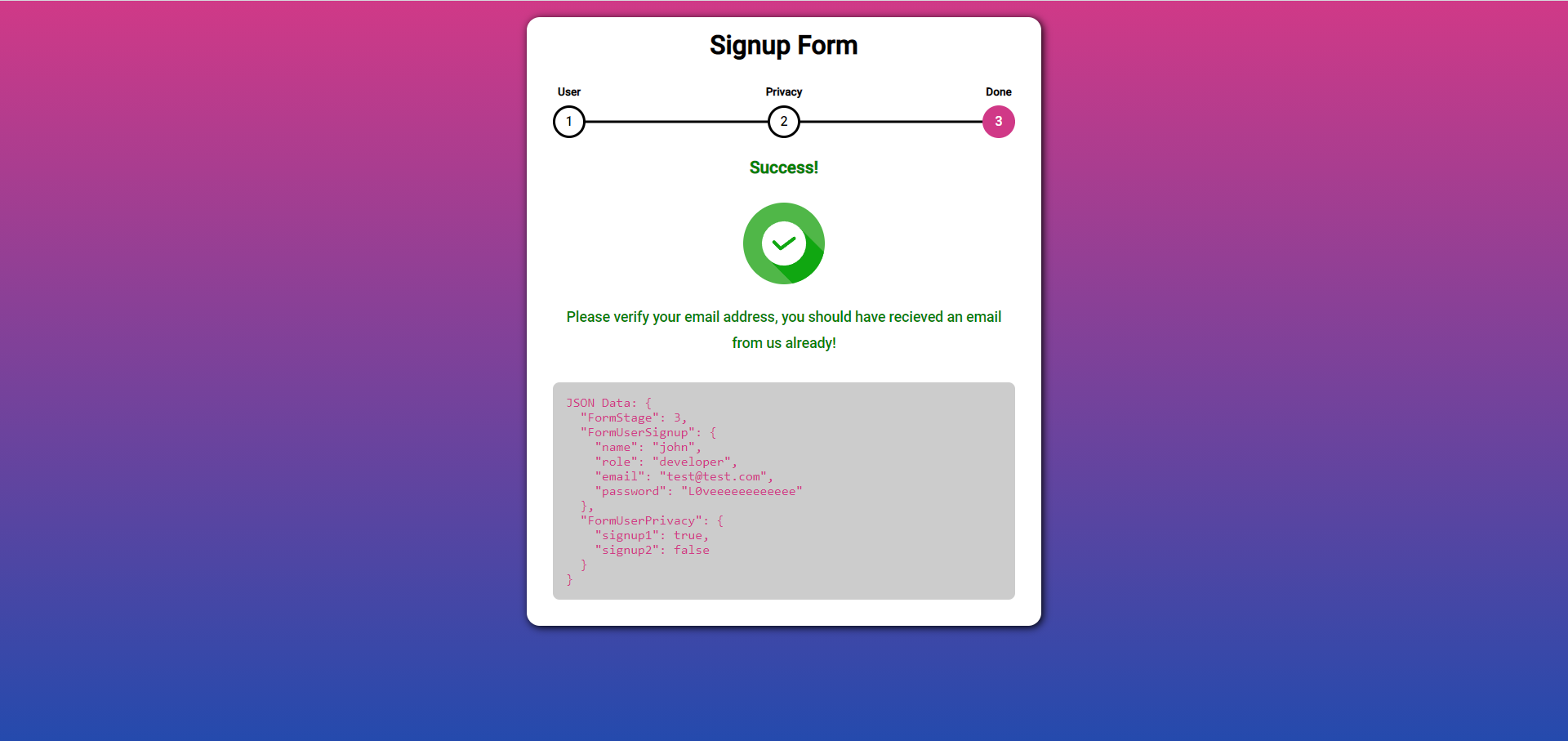 Component for Completion Page
