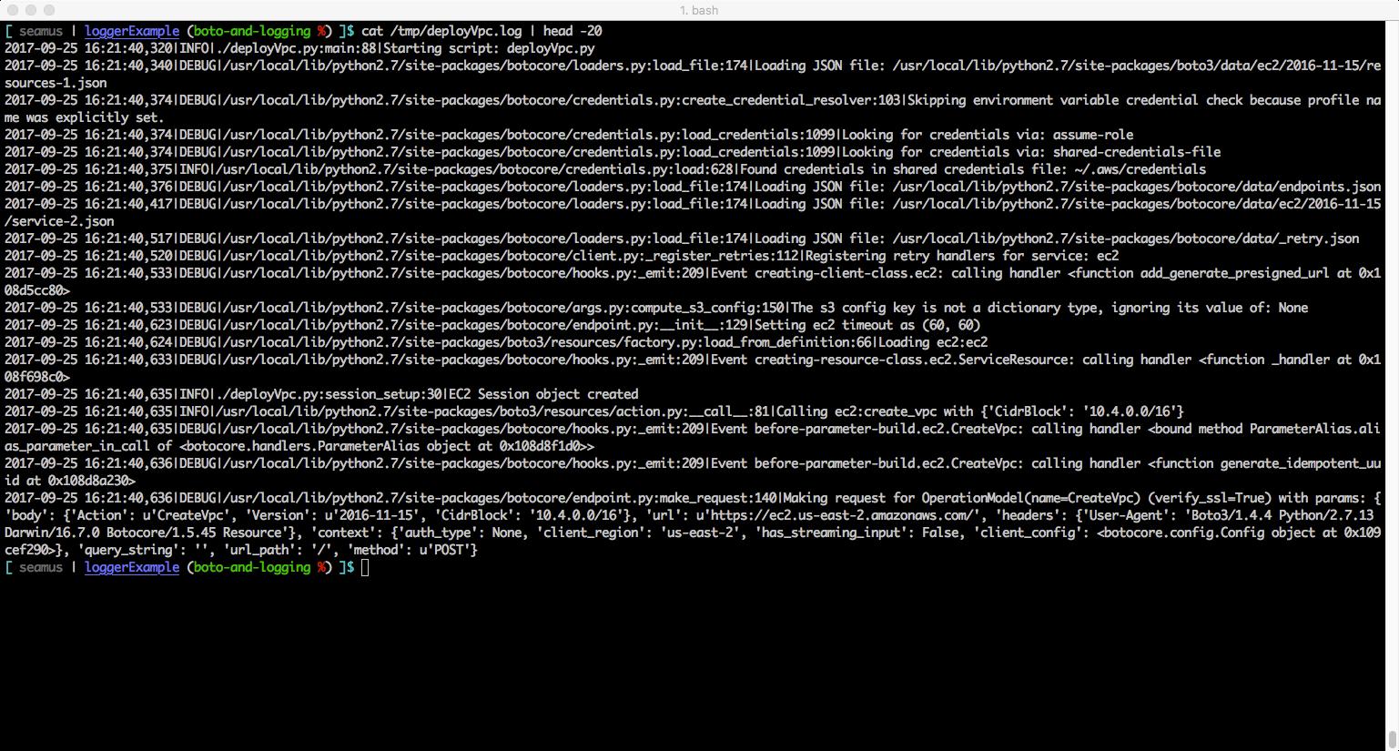 Debug logfile handler output