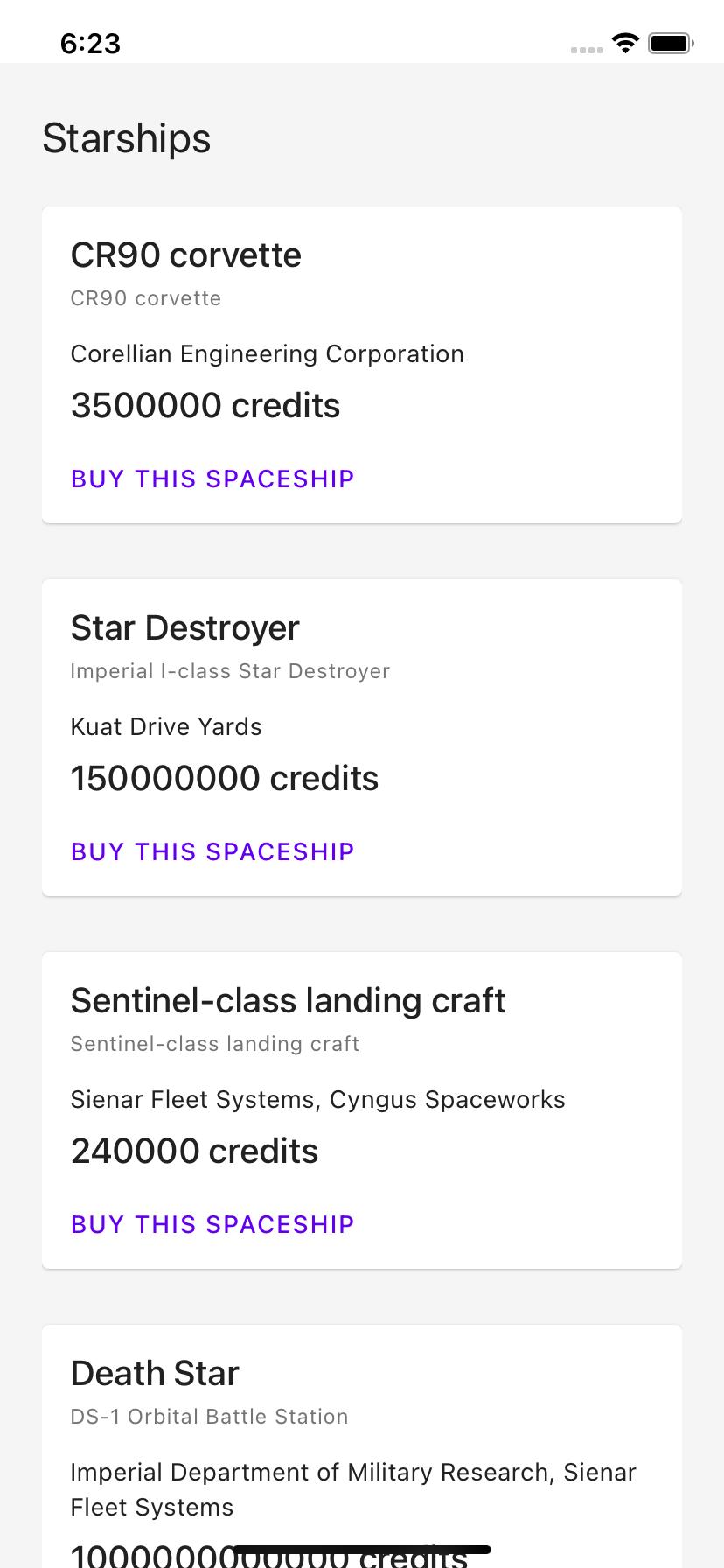 Starships list