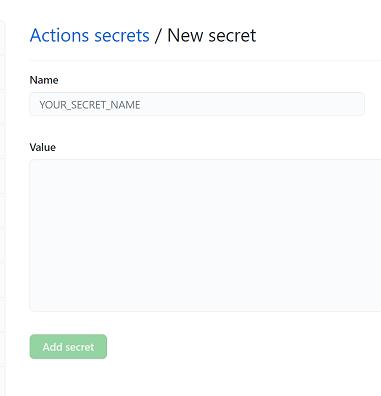 GitHub New Secret