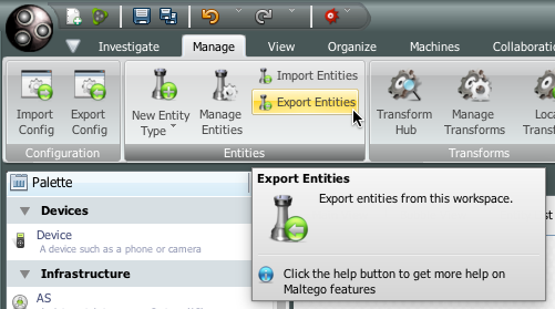 """Export Entities"" button."