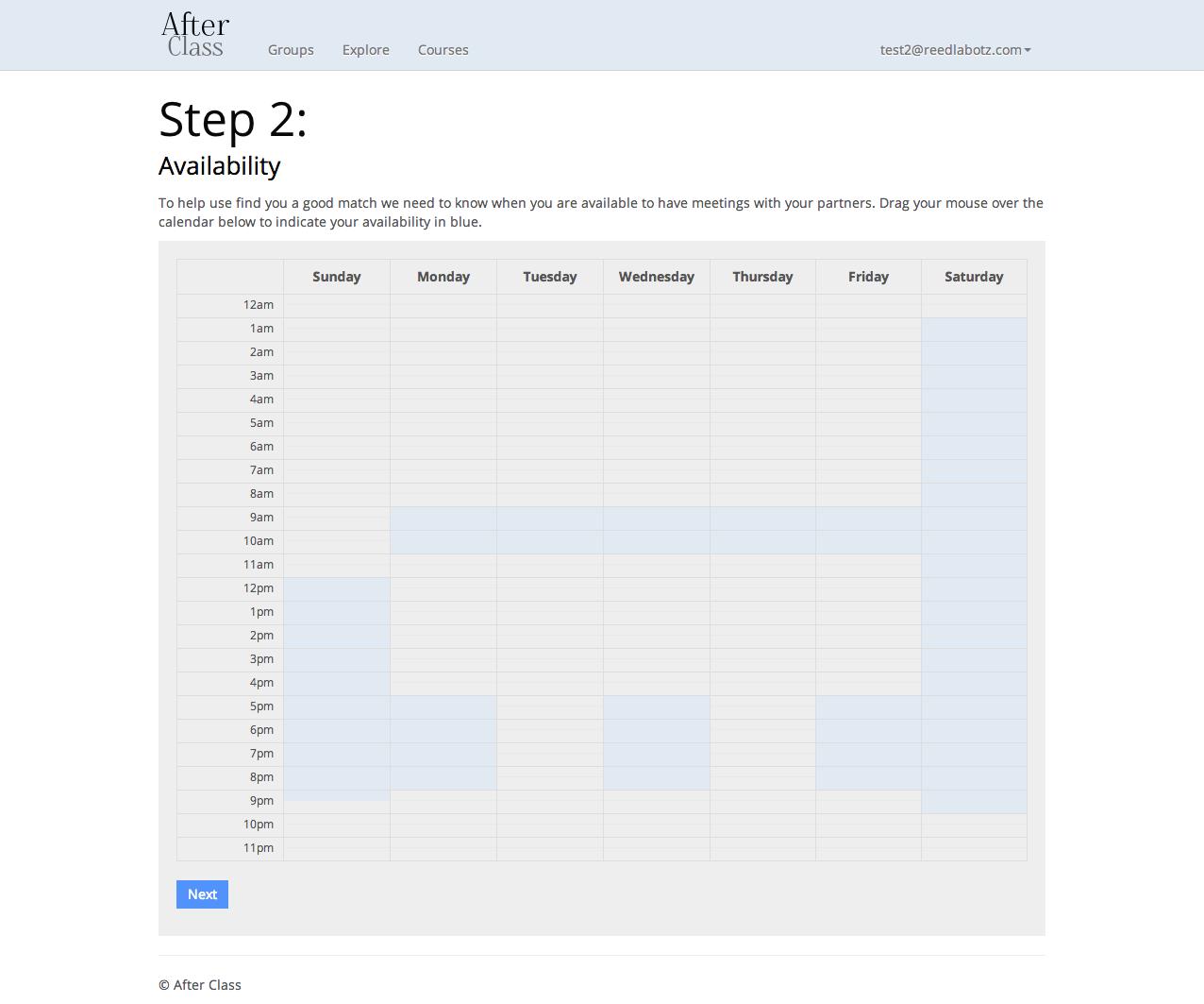 Availability screen