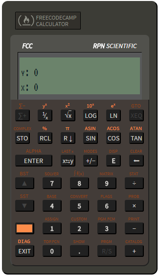Screenshot of a JavaScript calculator styled to look like an HP RPN scientific pocket calculator