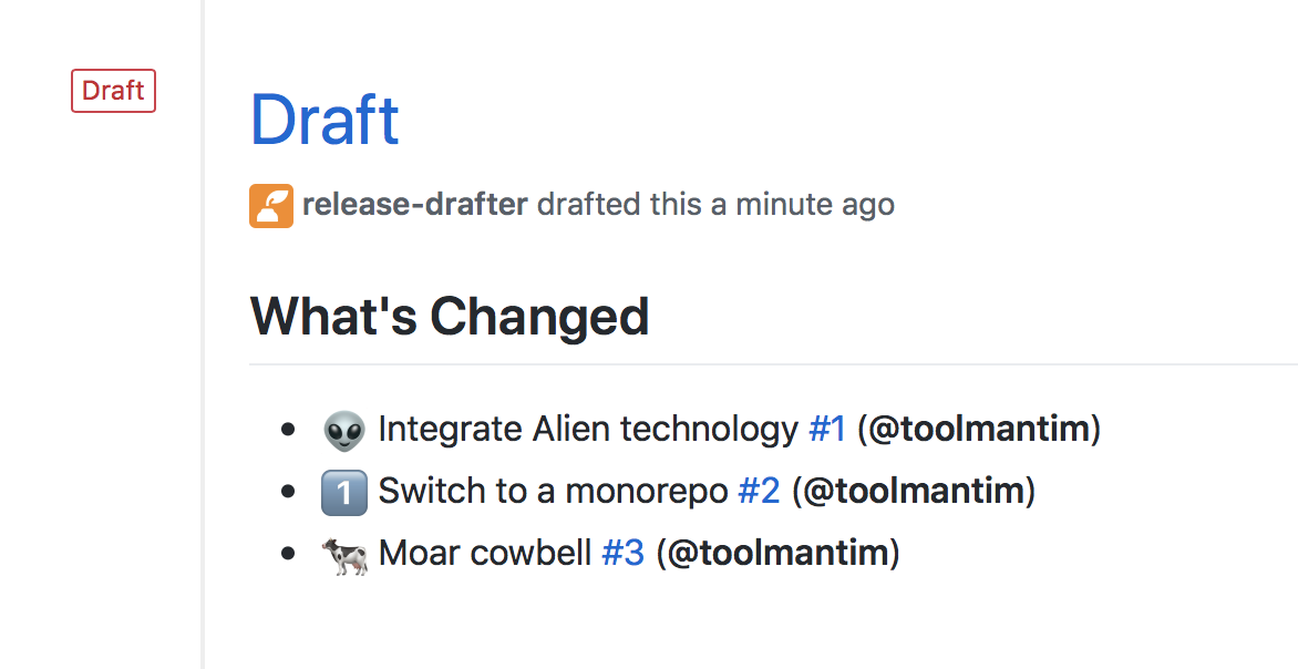 Screenshot of generated draft release