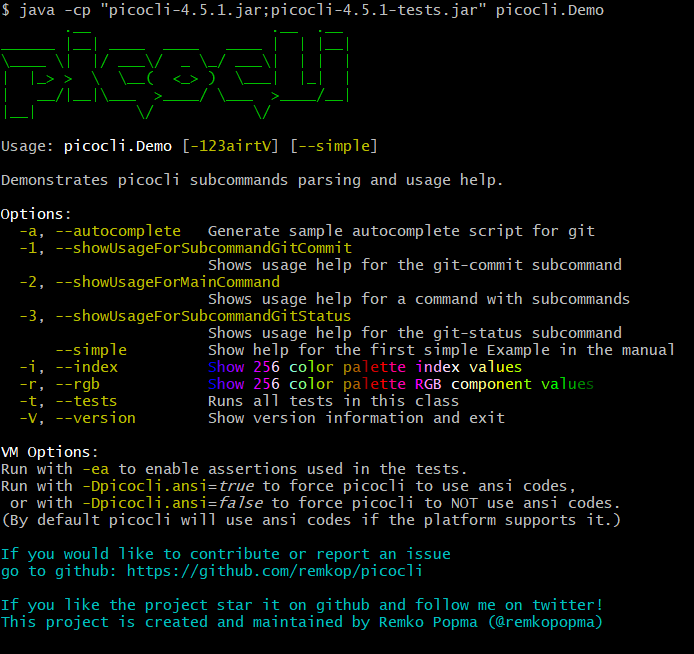 Picocli Demo help message with ANSI colors