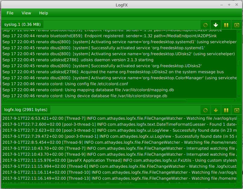 LogFX styled green in Linux