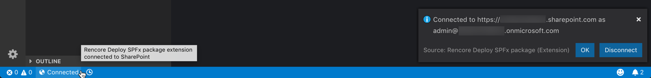 SharePoint connection information displayed in VSCode