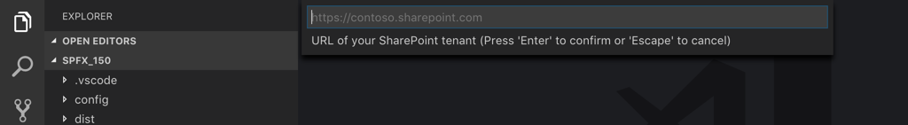 The 'Rencore Deploy SPFx Package' extension prompting for specifying the SharePoint URL