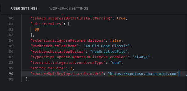 The 'rencoreSpfxDeploy.sharePointUrl' setting highlighted in the VSCode settings
