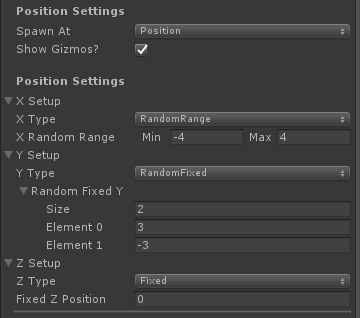UltimateSpawner - Position Settings - Position