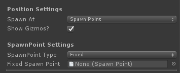 UltimateSpawner - Position Settings - Spawn Point Fixed