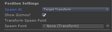 UltimateSpawner - Position Settings - Target Transform