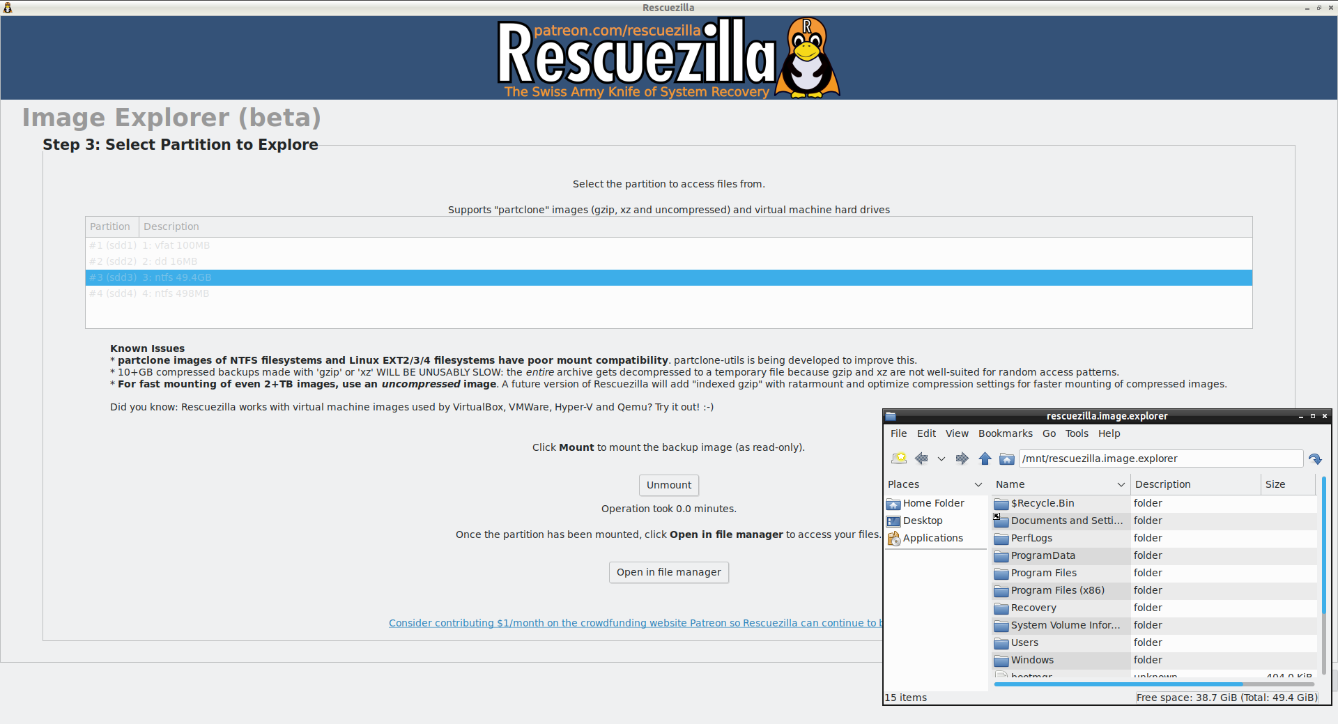 Extract individual files from Clonezilla images
