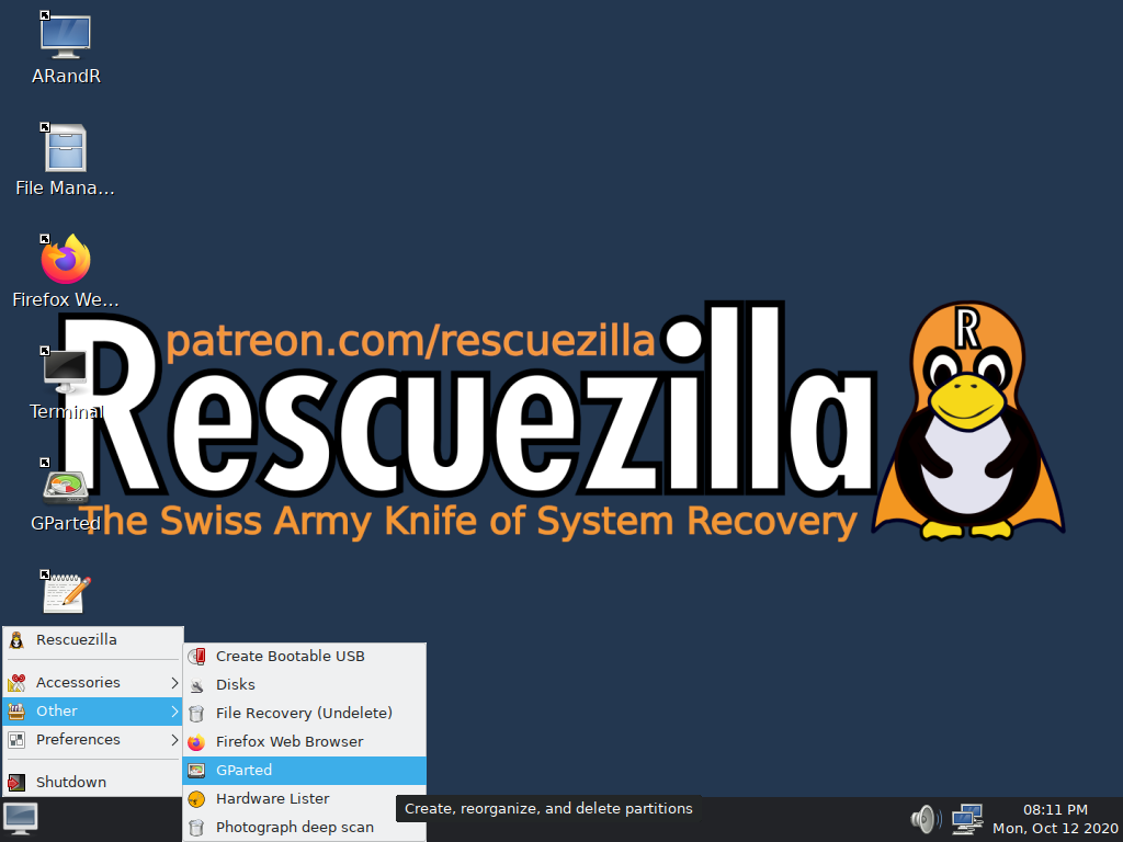 Provides many more tools including GParted Partition Editor, undelete and more!