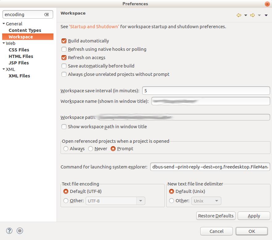 Workspace Encoding