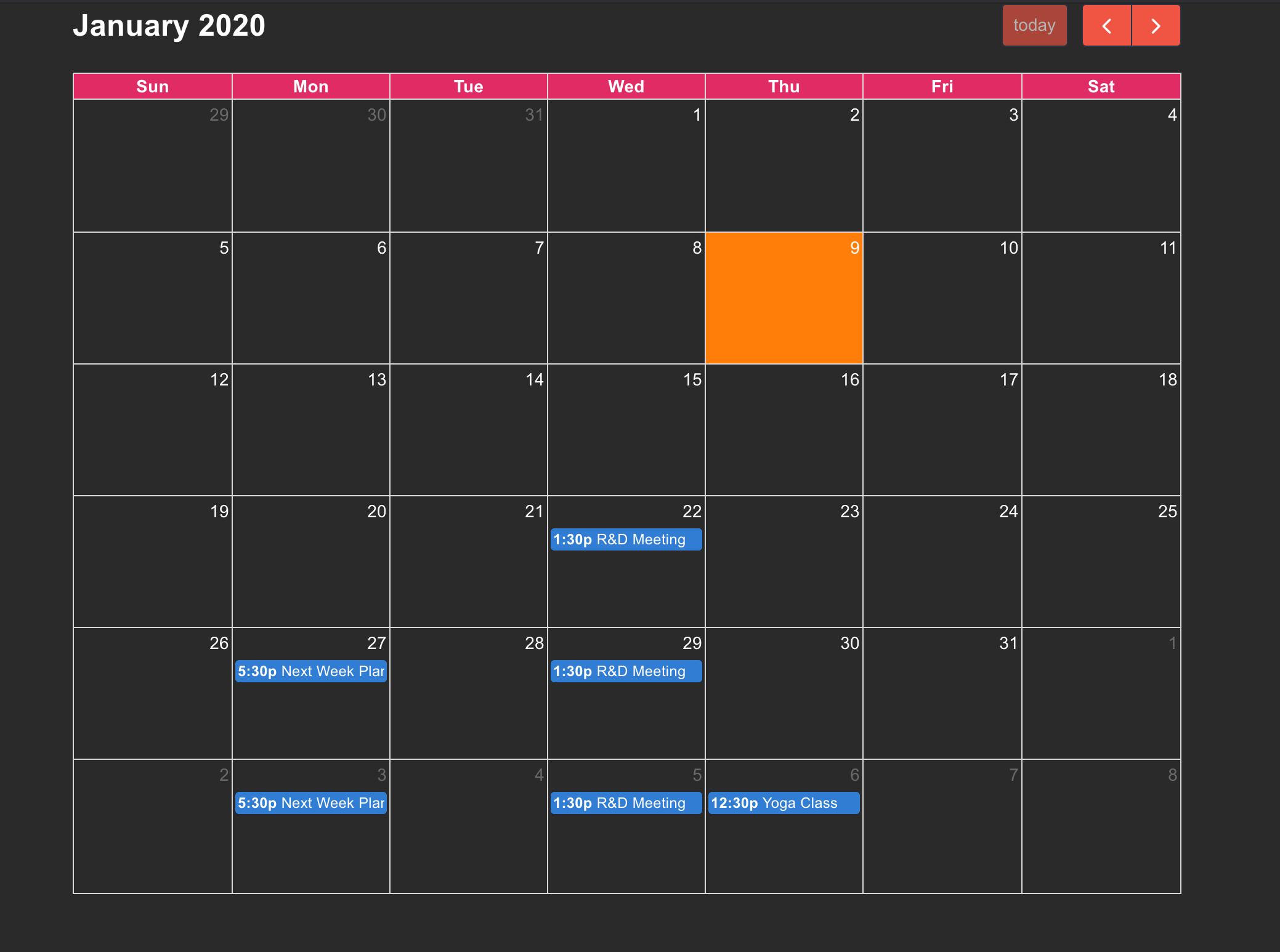 Template Screenshot for Calendar