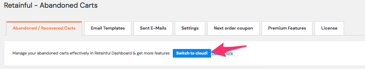 Switch to cloud button