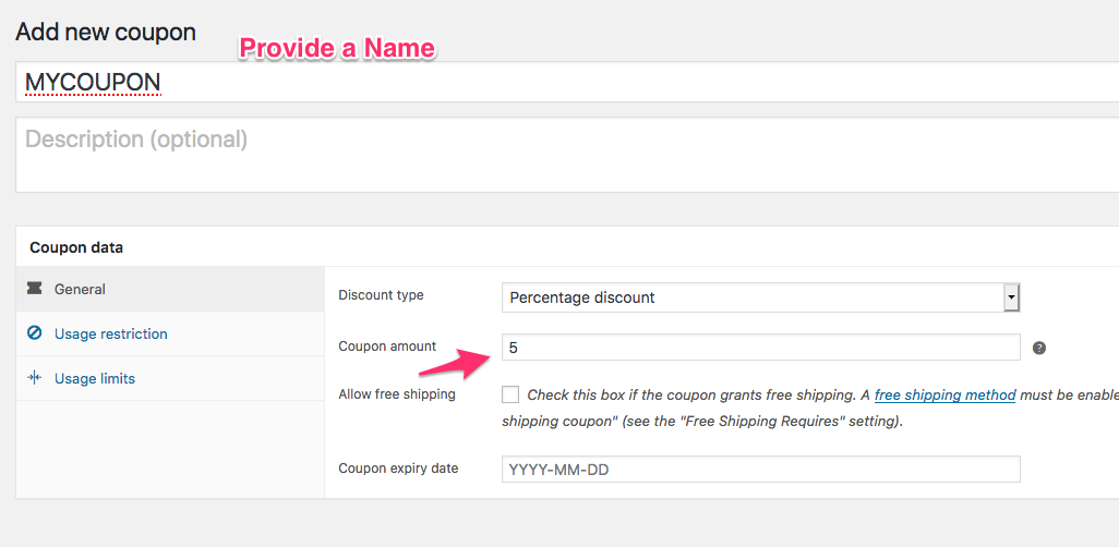 Create a coupon in WooCommerce