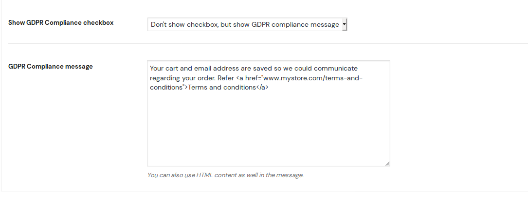 GDPR message