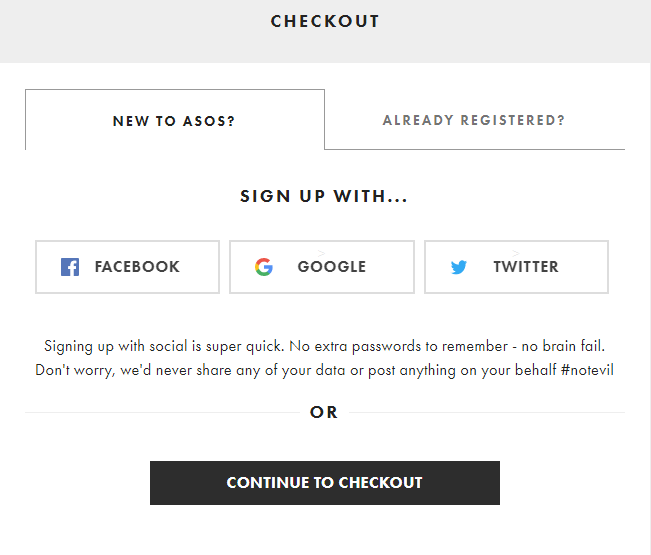 Offer guest checkout option