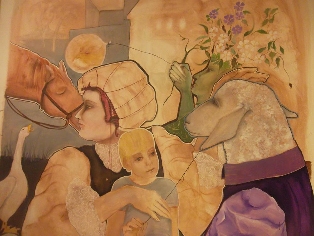 """""""A noite e as Fábulas Chegam Juntas"""". Óleo sobre Eucatex. 120×130 cm. 2012 (Foto: Belisa Parente)"""