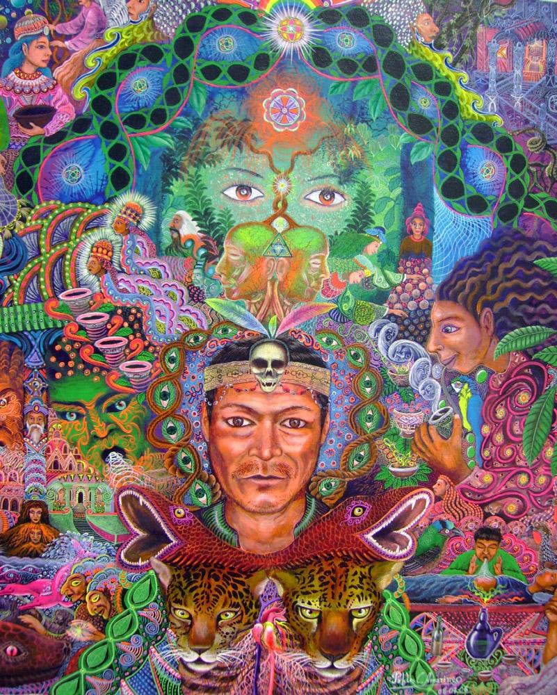 "Xamanismo: O poder das ""Plantas Professoras"" - Pintura de Pablo Amaringo"