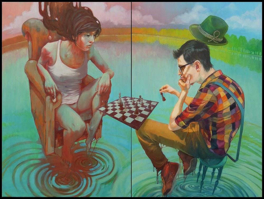 A fugacidade das impressões - Bezt: Check Mate - colaboração com Natalia Rak, óleo sobre duas telas, 120x80 + 120x80cm de 2012 (Pintura de Etam Cru)