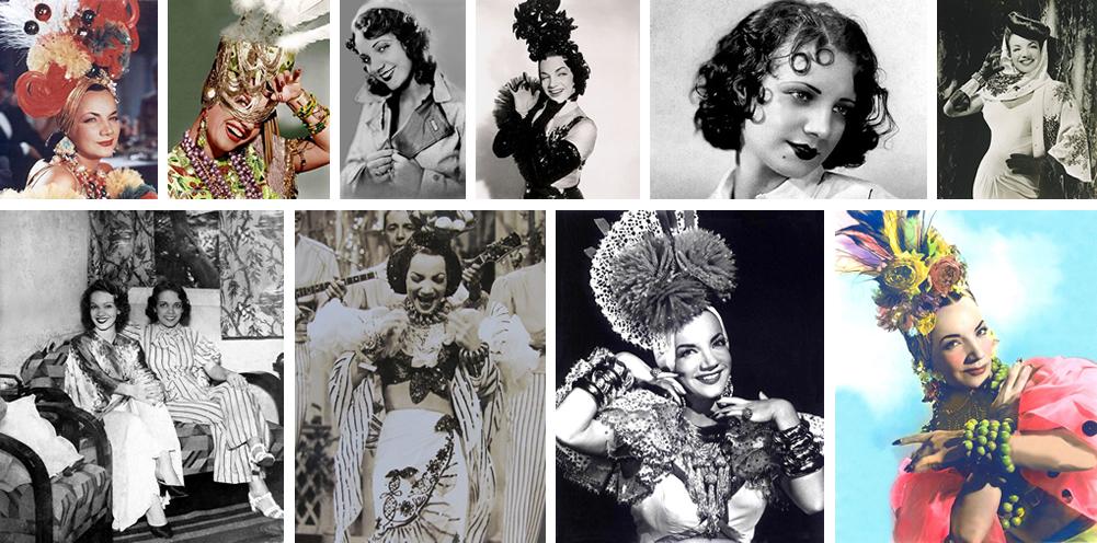 Carmen Miranda e suas várias facetas e acompanhada da sua irmã Aurora