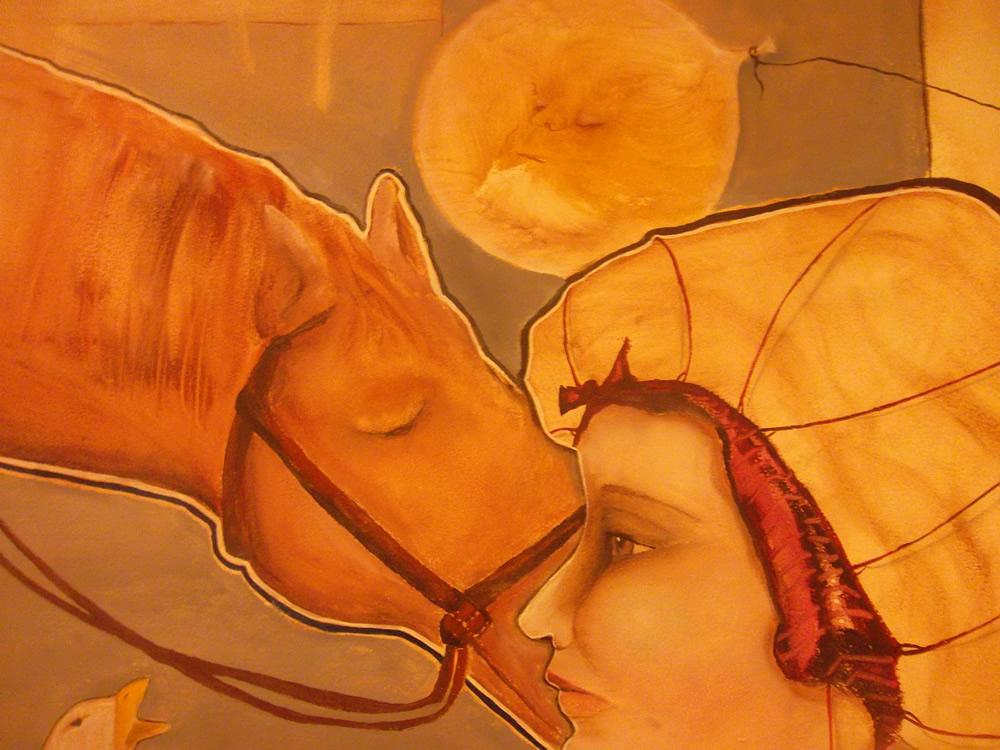 """Detalhe de """"A noite e as Fábulas Chegam Juntas"""". Óleo sobre Eucatex. 120×130 cm. 2012 (Foto: Belisa Parente)"""
