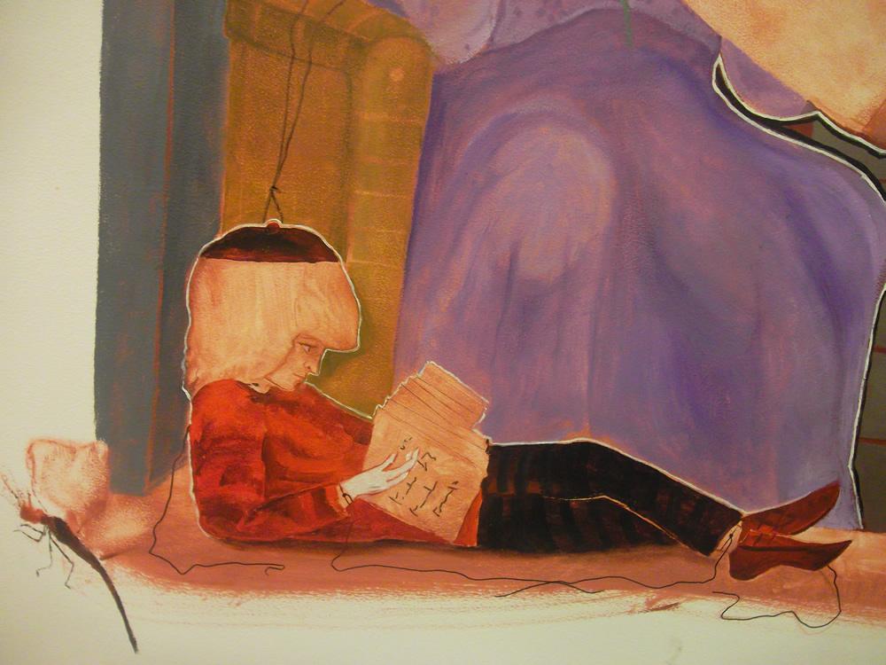 """Detalhe de """"Infância"""". Óleo sobre Eucatex. 120x80cm. 2012 (Foto: Belisa Parente)"""