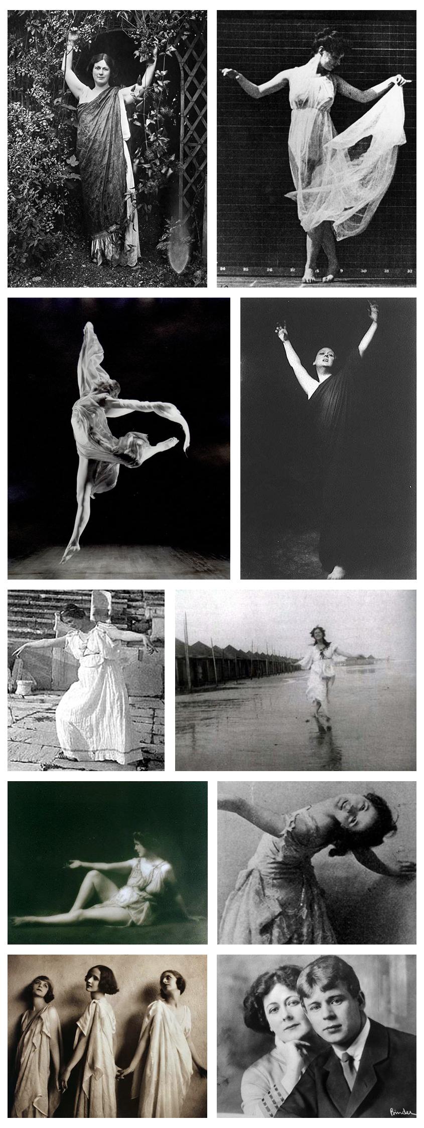 Isadora Duncan. Nas duas útimas fotos: Isadora Duncan e suas discípulas e Isadora Duncan com Sergei Esenin (Foto: Divulgação)