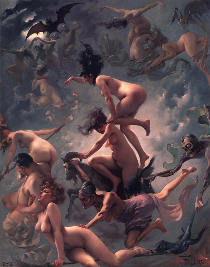 Quando dormem as feiticeiras - La Partida de las Brujas (Pintura de Luis Ricardo Falero, 1878)