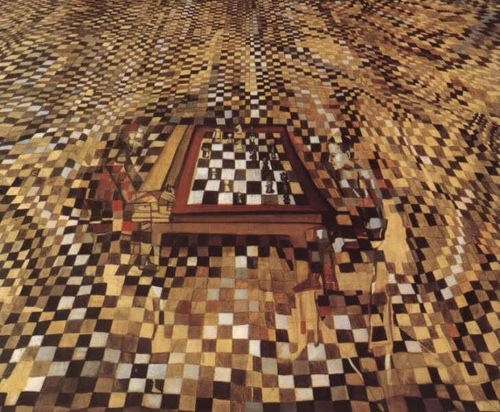 O Jogador - O Jogo de Xadrez, 1943 (Pintura de Maria Elena Vieira da Silva)