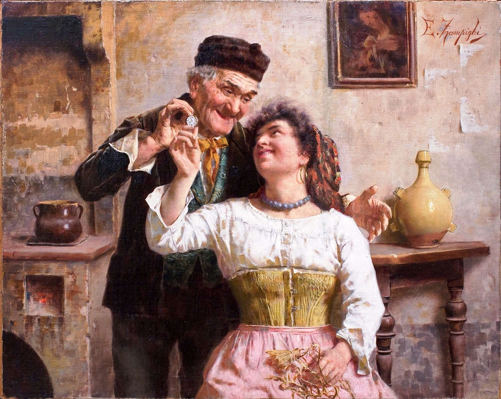 Uma paixão tardia - Oldman And Young Lady (Pintura de Eduardo Eugenio Zampighi)