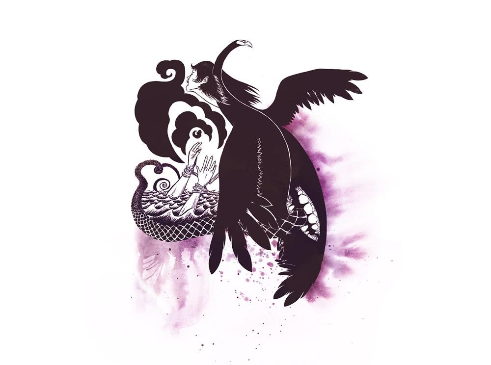 A cosmoloucura da natureza humana - Ilustração de Alexandre Dantas inspirado no prosapoema (Especial para a Revista Žeena).